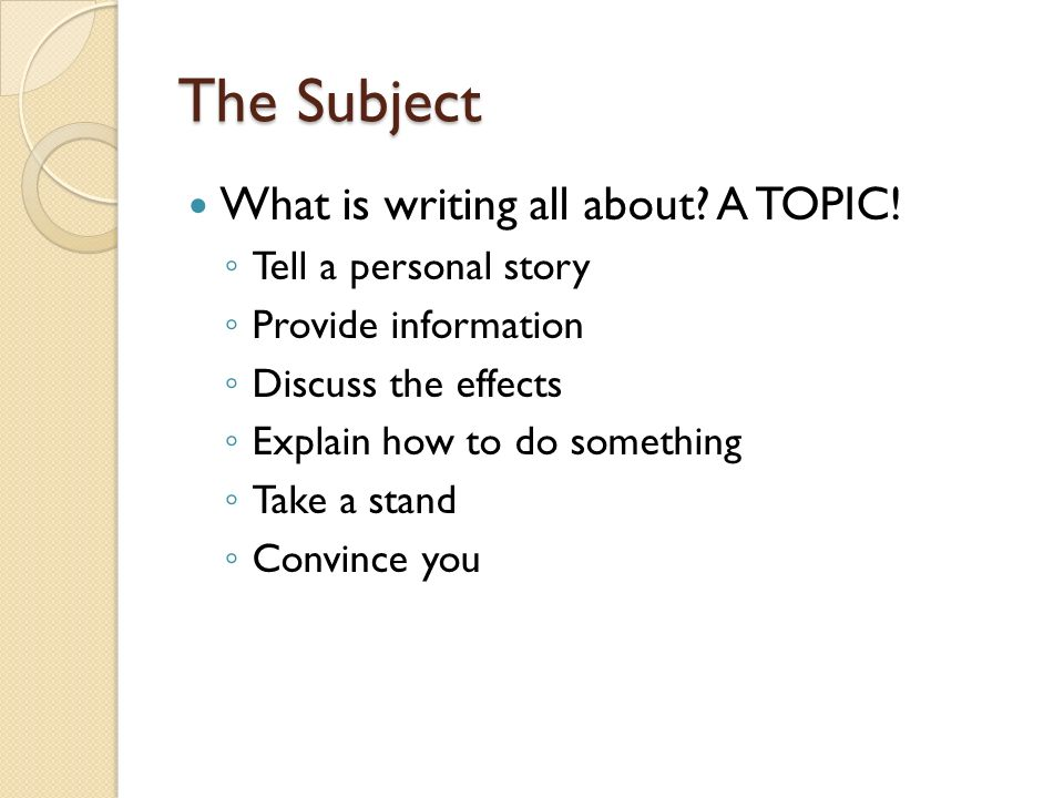 The Subject What Is Writing All About A Topic