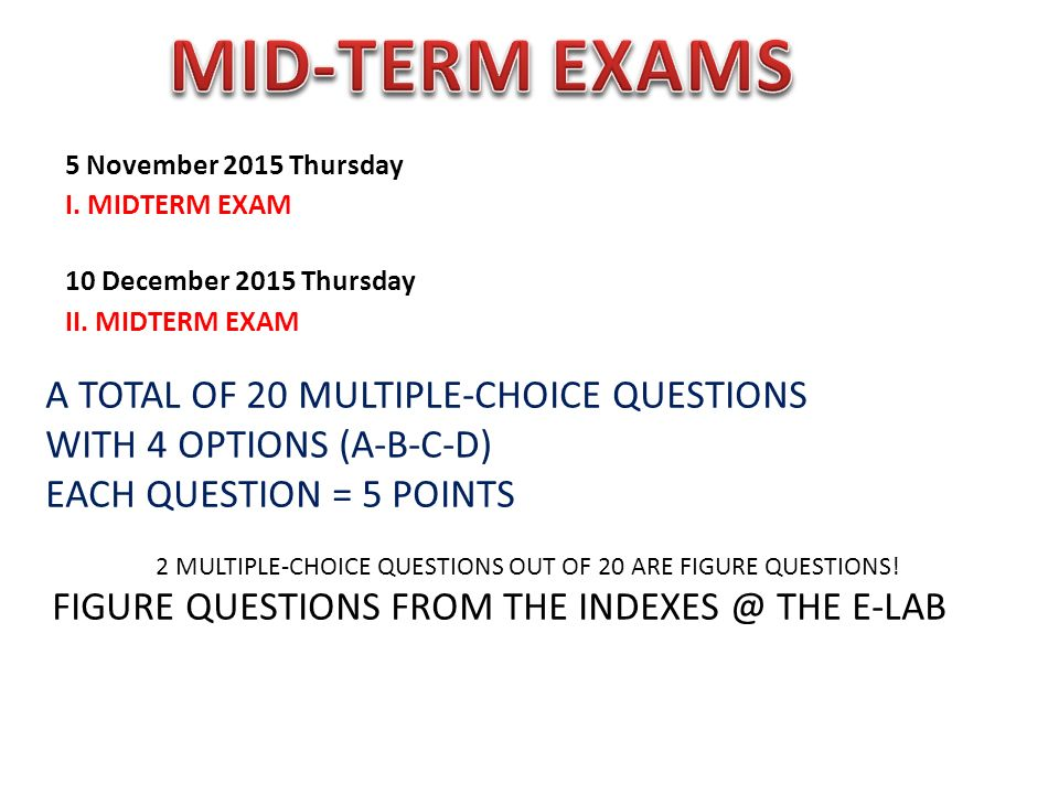 Exam questions will be prepared from the pdf(s)  - ppt download