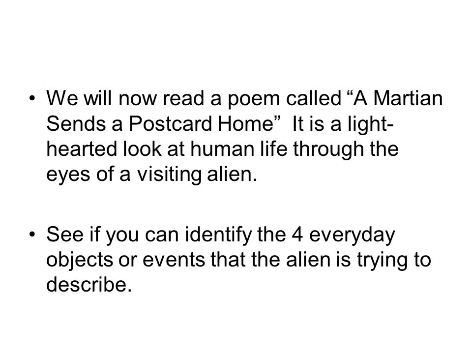 a martian sends a postcard home analysis
