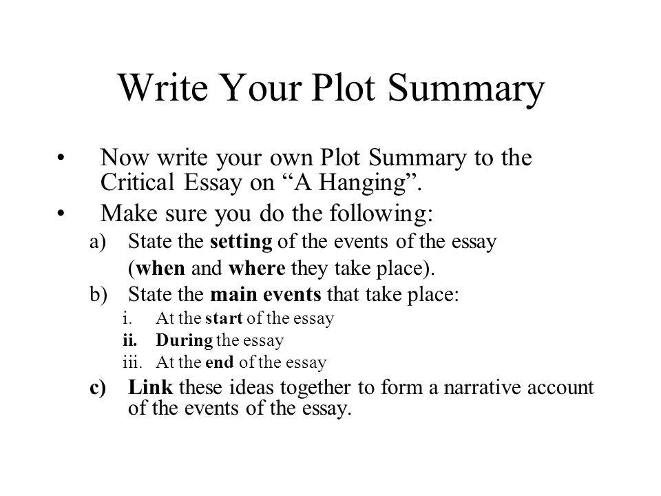 how do you write a plot summary
