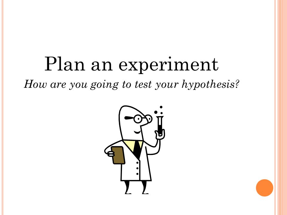 Plan an experiment How are you going to test your hypothesis