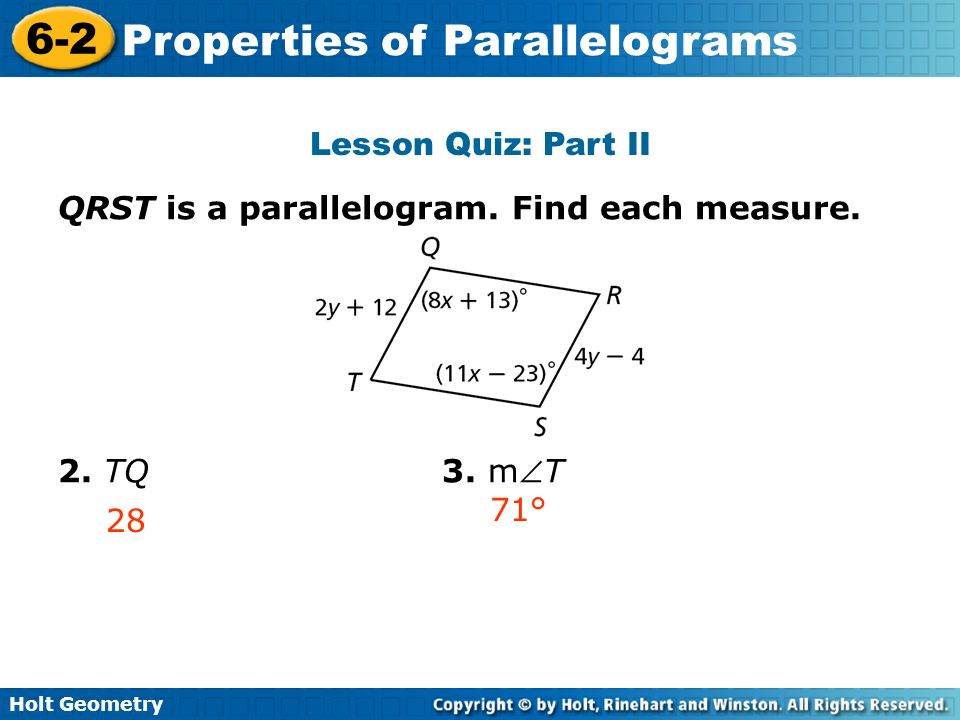 lesson 6-2 problem solving properties of parallelograms answers