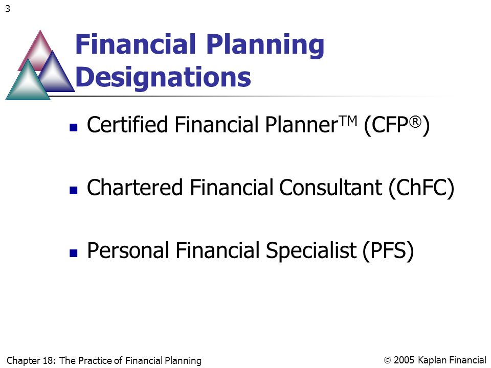 Chapter 18 The Practice Of Financial Planning Chapter 18 The