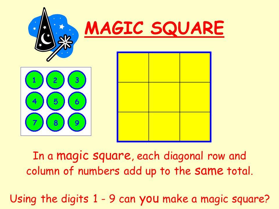 MAGIC SQUARE In a magic square, each diagonal row and column