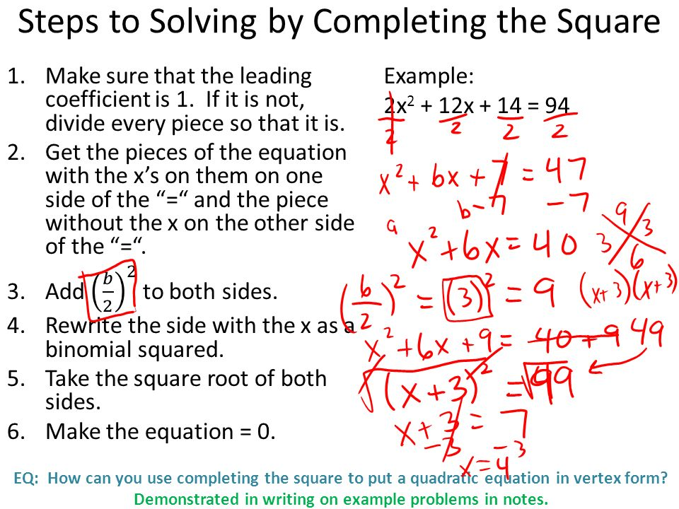 Eq How Can You Use Completing The Square To Put A Quadratic