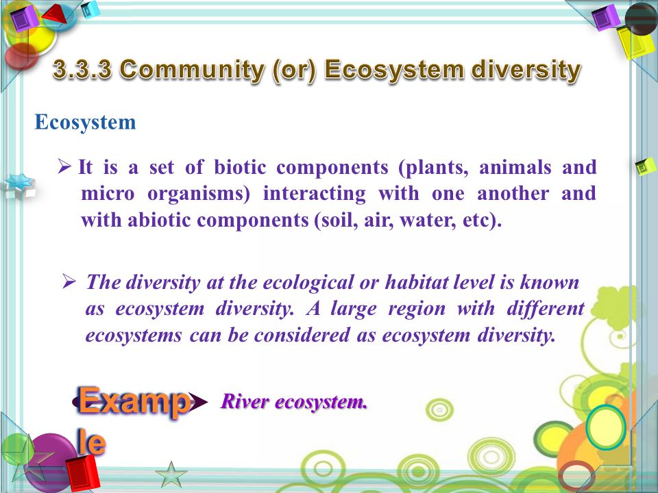 Ecosystem  It is a set of biotic components (plants, animals and micro organisms) interacting with one another and with abiotic components (soil, air, water, etc).