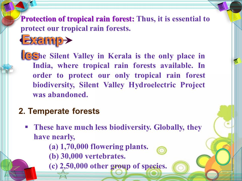 Protection of tropical rain forest: Protection of tropical rain forest: Thus, it is essential to protect our tropical rain forests.