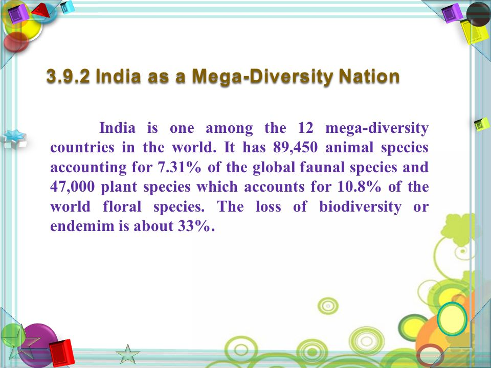 3.9.2 India as a Mega-Diversity Nation India is one among the 12 mega-diversity countries in the world.