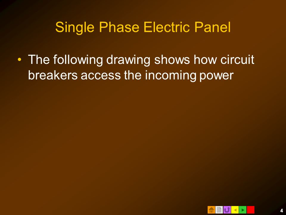  4 Single Phase Electric Panel The following drawing shows how circuit breakers access the incoming power