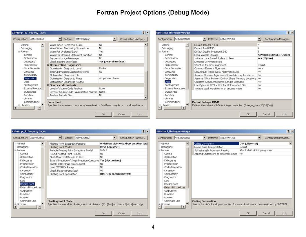 1 Visual Studio 2005 Options for Debug Mode: C++, Fortran