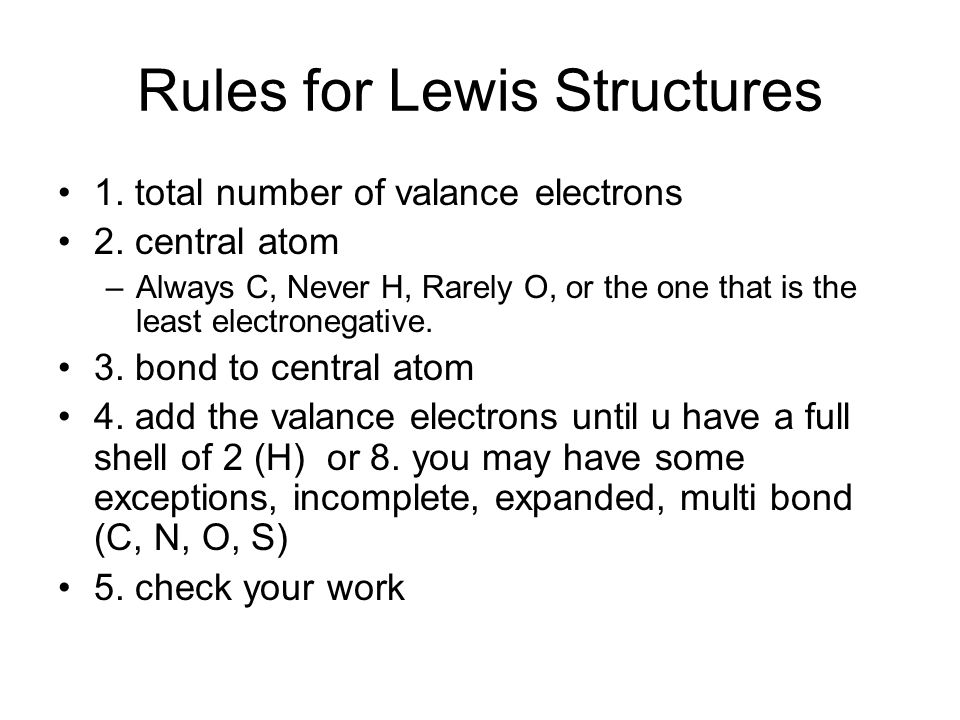 i can 2 i can draw a lewis structure rules for lewis structures 1