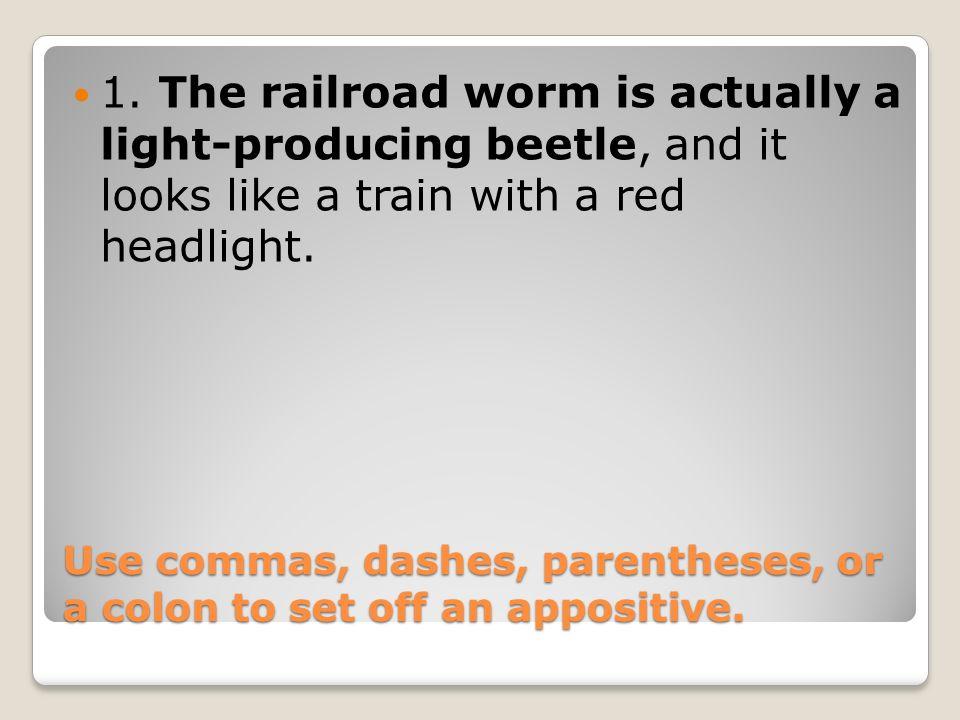 Appositives 3 Use commas, dashes, parentheses, or a colon to set off