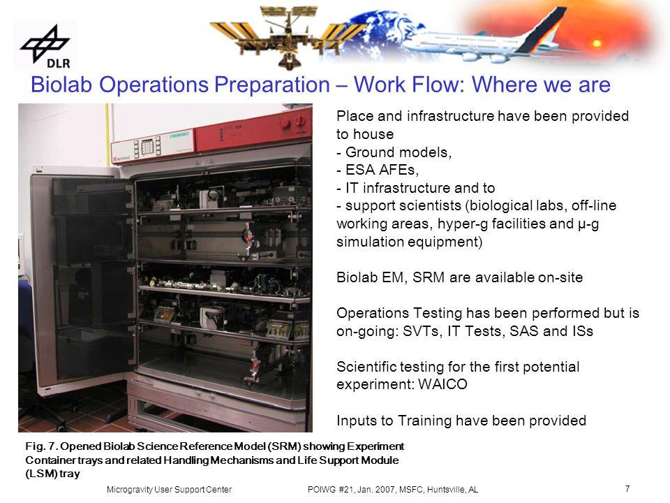 Biolab Operations Preparation Overview D  Seibt, DLR MUSC POIWG #21