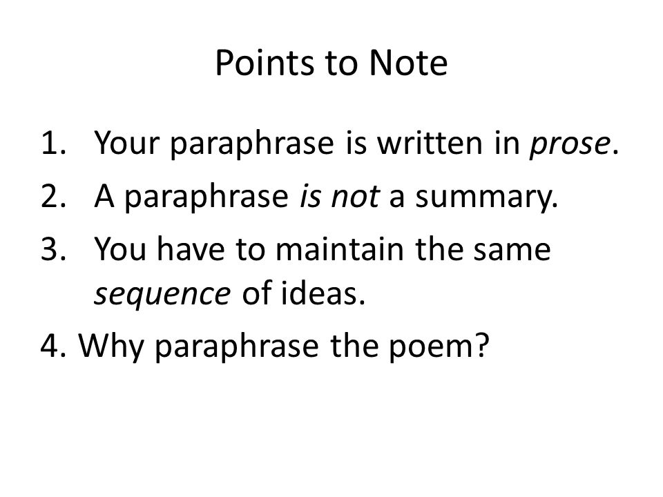 prose and note summary