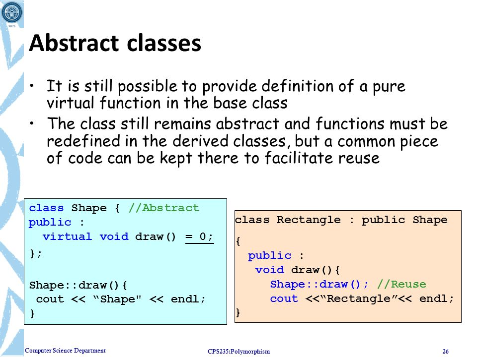 Computer Science Department Inheritance Polymorphism Ppt Download
