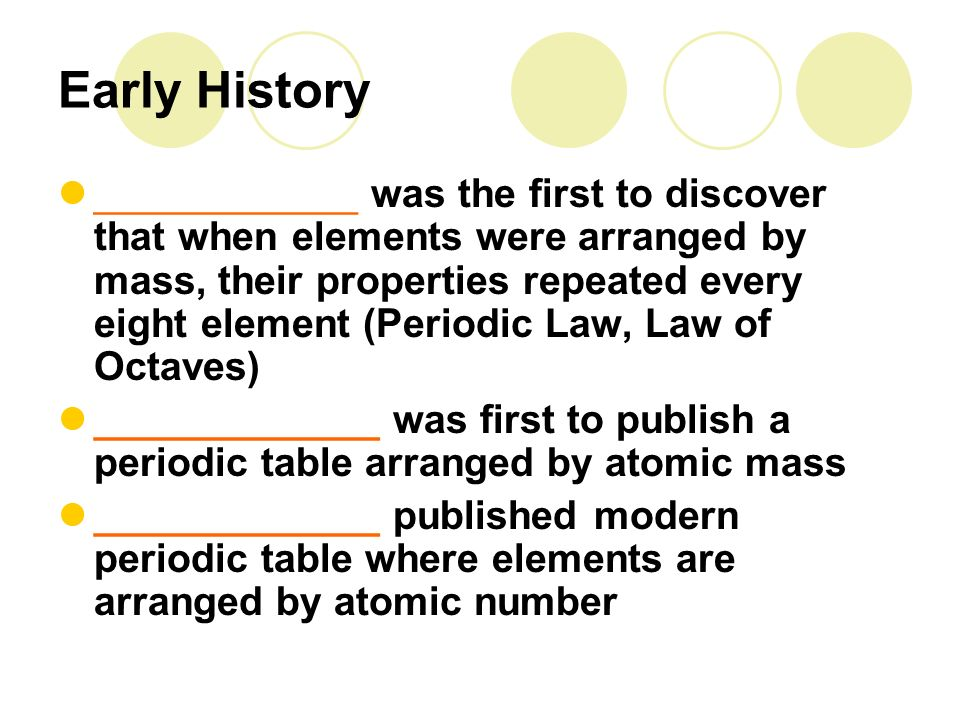 Unit 3 1 The Periodic Table And Periodic Law Development Of The