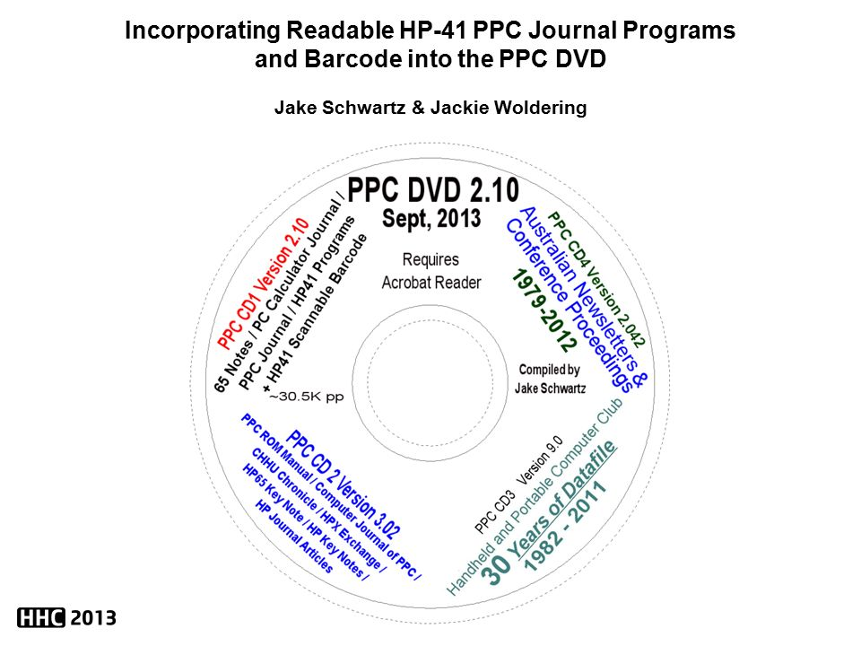 incorporating readable hp 41 ppc journal programs and barcode into