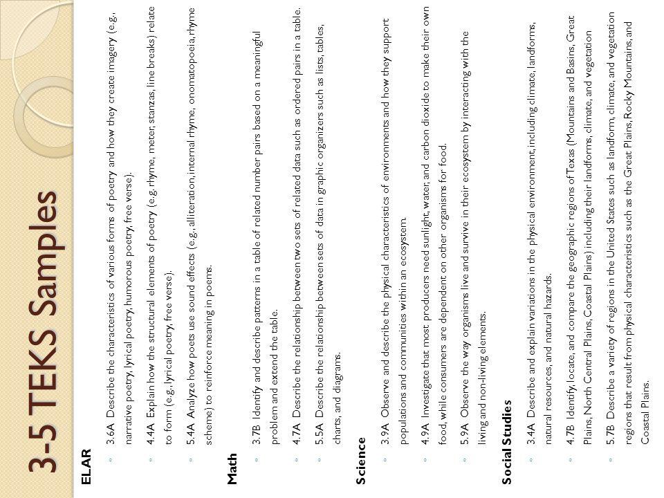 K-2 TEKS Samples ELAR ◦ K 7A Respond to rhythm and rhyme in