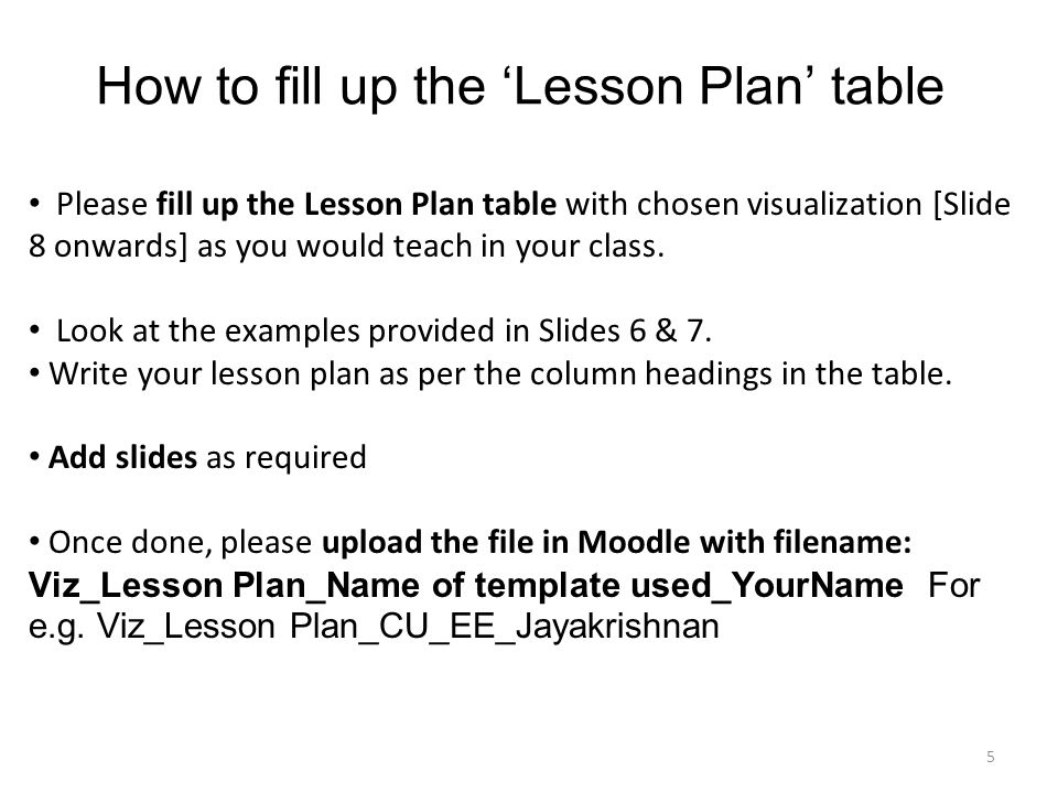 lesson design template for teaching with visualization iit bombay