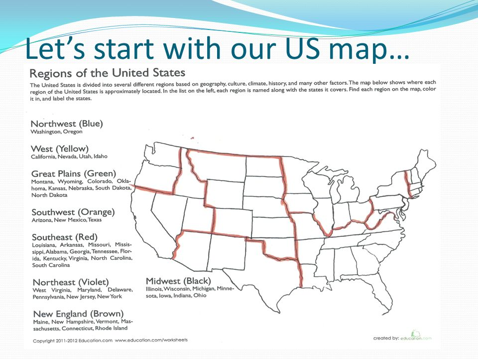 Ms Von Alt World Studies What Is A Region Regions Are Places That. 6 Let's Start With Our Us Map. Worksheet. United States Regions Worksheets At Mspartners.co