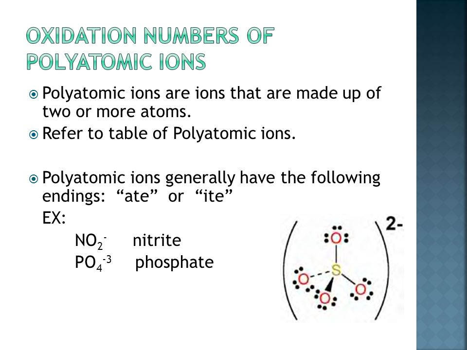 Cations 1 oxidation # Anions 1 oxidation # Transition Elements More than 1 oxidation # Common cations and anions *put on periodic table