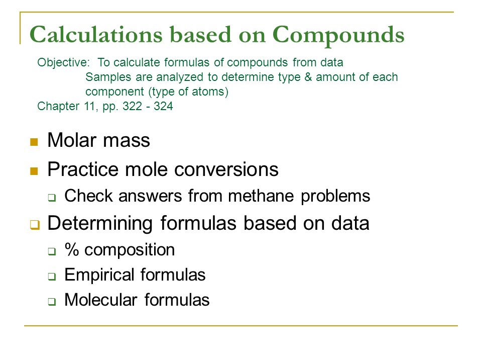 Calculations Based On Compounds Molar Mass Practice Mole Conversions