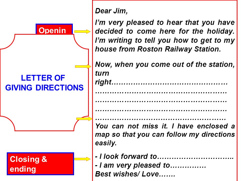 how to write directions to your house