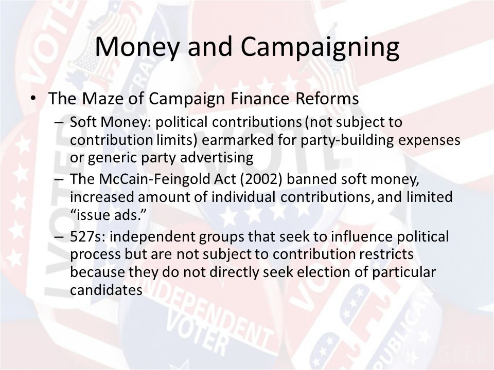 the issue of republican political campaign the collect of money through so called soft money contrib Basically, soft money is money donated to political parties in a way that leaves the contribution unregulated conversely, hard money consists of political donations that are regulated by law through the federal election commission.