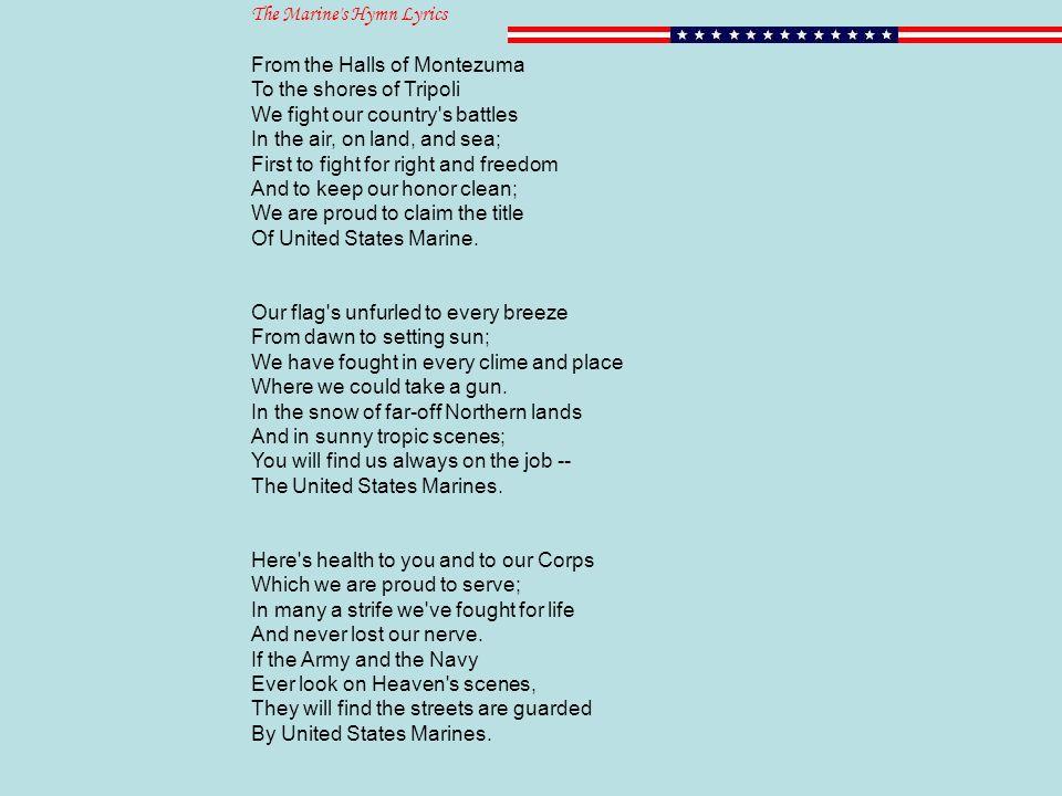 Lyric marine corps hymn lyrics : 11.3 The Coming of War. Merchants Vs. Pirates Barbary States ...