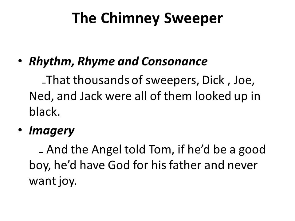 the chimney sweeper rhyme scheme