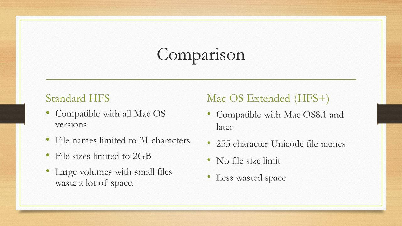 File Systems : Hierarchical File System (HFS, for Mac OS) Prepared ...