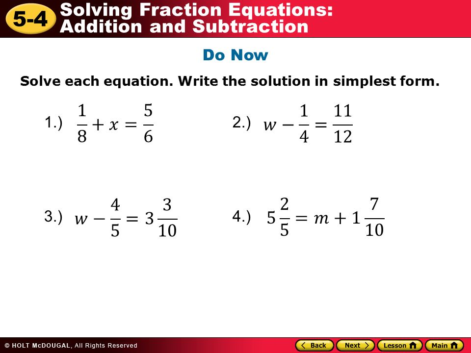 simplest form equation  17-17 Solving Fraction Equations: Addition and Subtraction ...