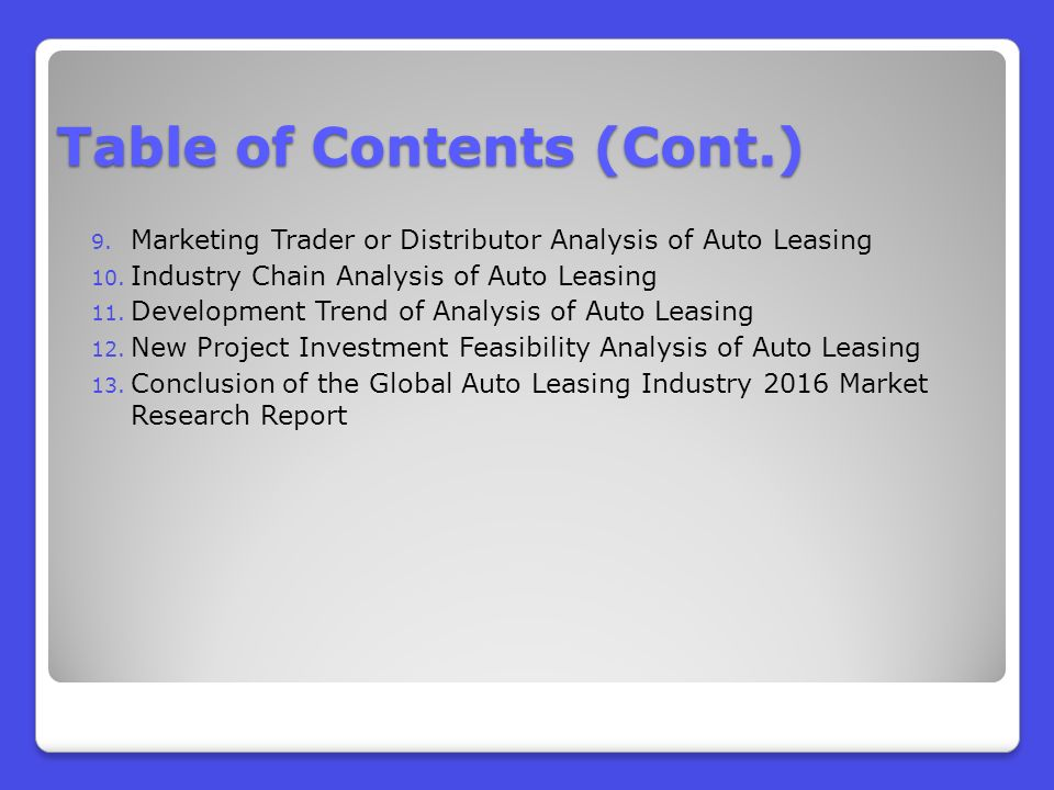 Global Auto Leasing >> Global Auto Leasing Industry Analysis And Revenue Forecast