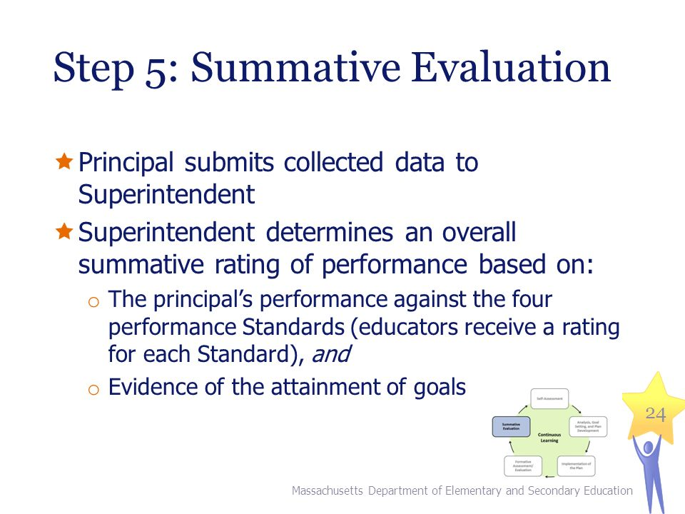 Step 5: Summative Evaluation  Principal submits collected data to Superintendent  Superintendent determines an overall summative rating of performance based on: o The principal's performance against the four performance Standards (educators receive a rating for each Standard), and o Evidence of the attainment of goals Massachusetts Department of Elementary and Secondary Education 24