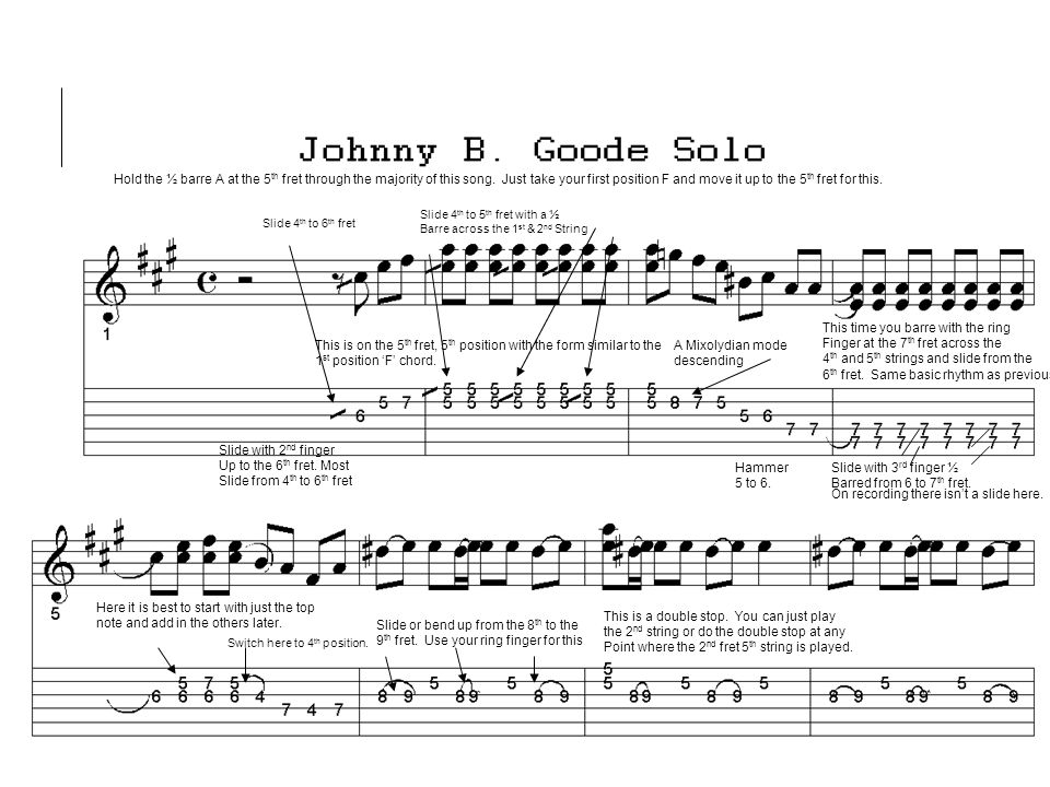 Johnny B Goode The A Mixolydian Mode Is The Same As A D Major