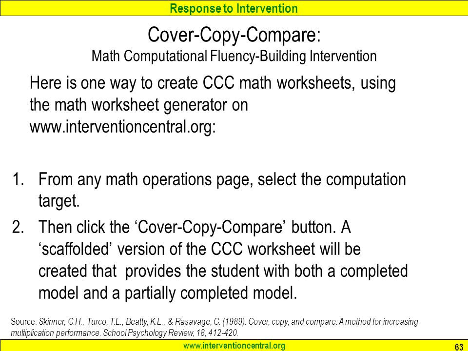 Response To Intervention Best Practices In Classroom Math