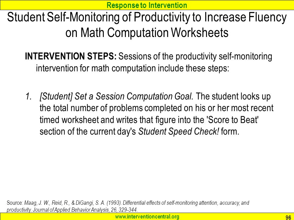 Response To Intervention Best Practices In Classroom Math. Response To Intervention Interventioncentralorg Student Selfmonitoring Of Productivity Increase. Worksheet. Math Intervention Worksheets At Clickcart.co