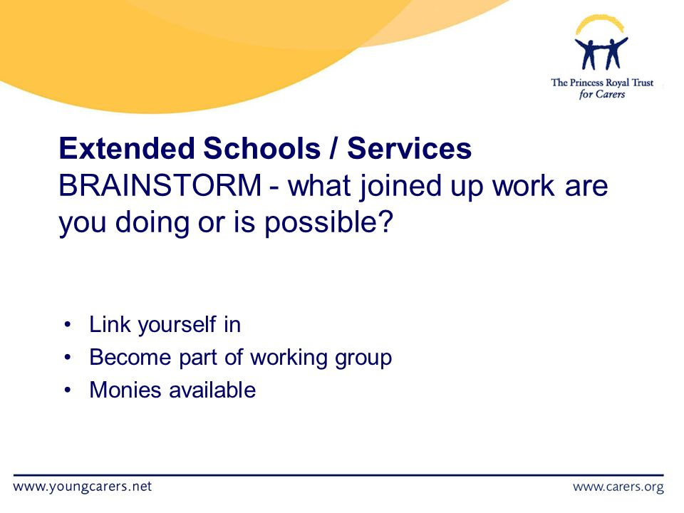 Extended Schools / Services BRAINSTORM - what joined up work are you doing or is possible.