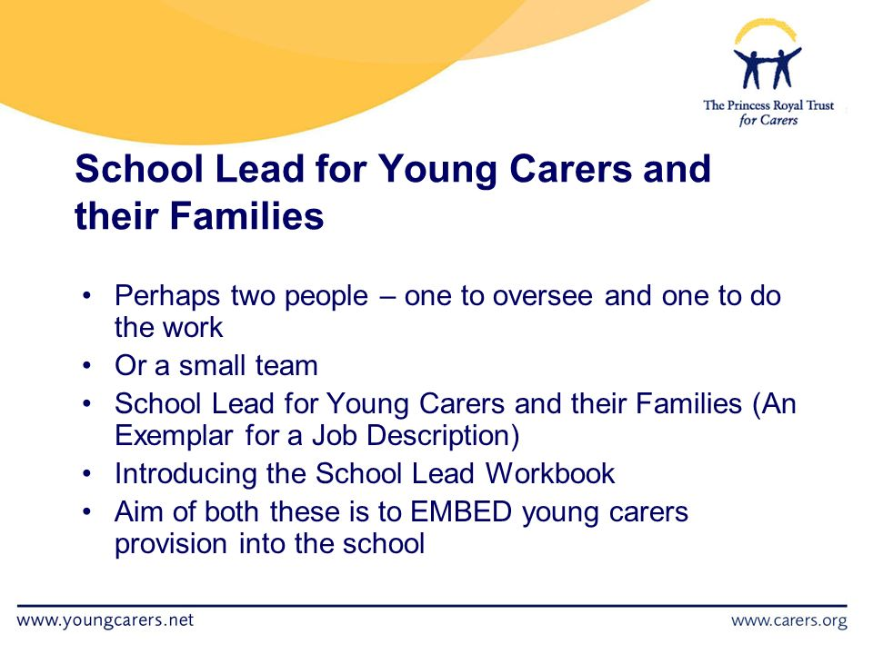 School Lead for Young Carers and their Families Perhaps two people – one to oversee and one to do the work Or a small team School Lead for Young Carers and their Families (An Exemplar for a Job Description) Introducing the School Lead Workbook Aim of both these is to EMBED young carers provision into the school