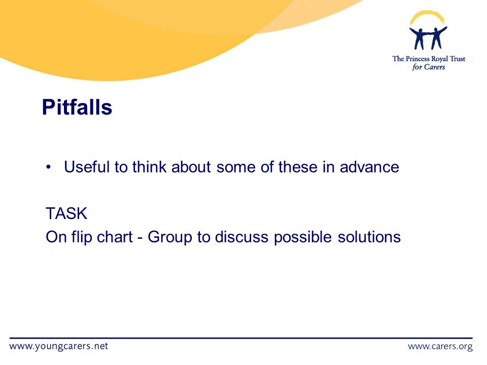 Pitfalls Useful to think about some of these in advance TASK On flip chart - Group to discuss possible solutions