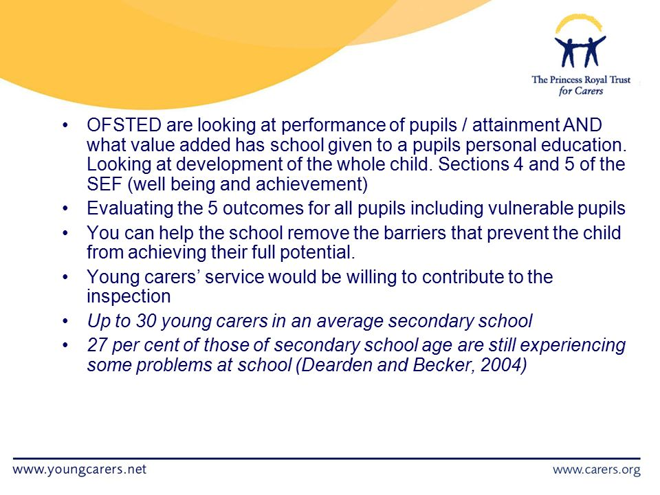 OFSTED are looking at performance of pupils / attainment AND what value added has school given to a pupils personal education.