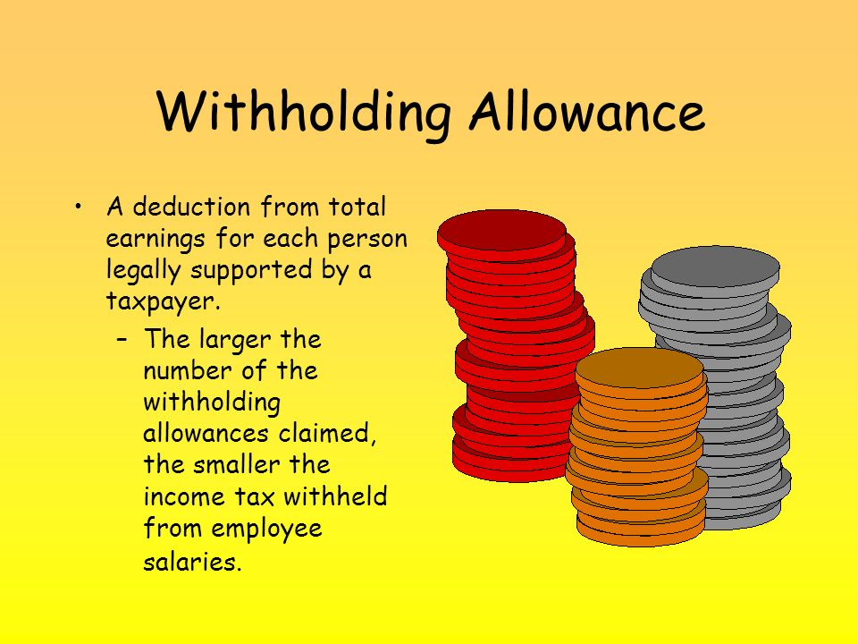 Withholding Allowance A deduction from total earnings for each person legally supported by a taxpayer.