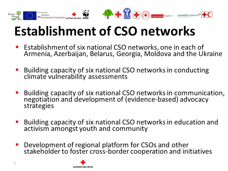 5 Establishment of CSO networks  Establishment of six national CSO networks, one in each of Armenia, Azerbaijan, Belarus, Georgia, Moldova and the Ukraine  Building capacity of six national CSO networks in conducting climate vulnerability assessments  Building capacity of six national CSO networks in communication, negotiation and development of (evidence-based) advocacy strategies  Building capacity of six national CSO networks in education and activism amongst youth and community  Development of regional platform for CSOs and other stakeholder to foster cross-border cooperation and initiatives