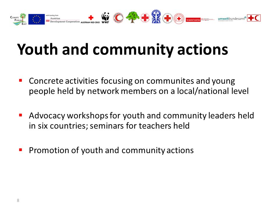 8 Youth and community actions  Concrete activities focusing on communites and young people held by network members on a local/national level  Advocacy workshops for youth and community leaders held in six countries; seminars for teachers held  Promotion of youth and community actions
