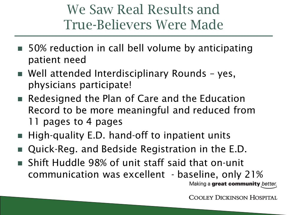 Cooley Dickinson Hospital Quality Transformation June ppt