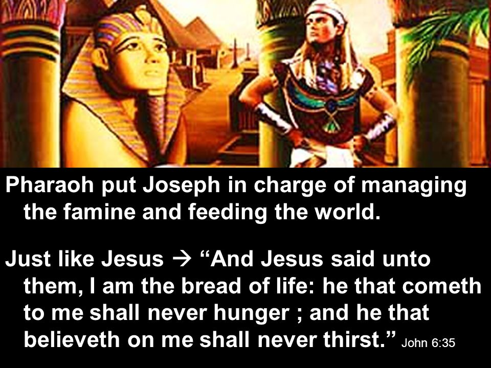 Pharaoh put Joseph in charge of managing the famine and feeding the world.