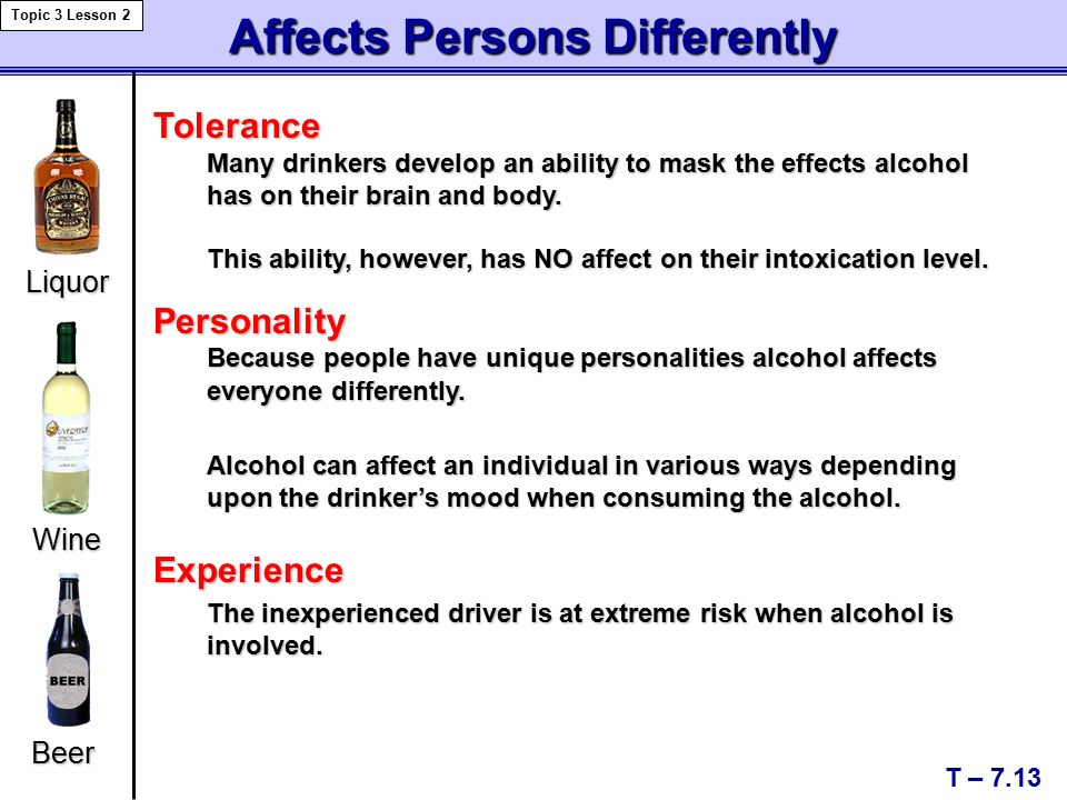 Affects Persons Differently T – 7.13 Topic 3 Lesson 2 Personality Because people have unique personalities alcohol affects everyone differently.