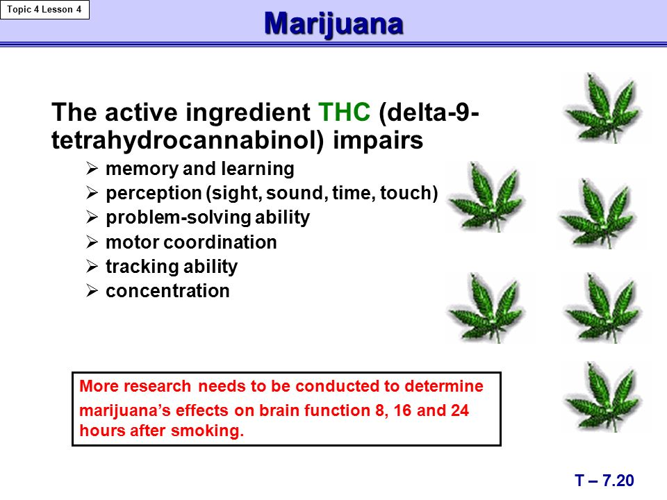 Marijuana The active ingredient THC (delta-9- tetrahydrocannabinol) impairs  memory and learning  perception (sight, sound, time, touch)  problem-solving ability  motor coordination  tracking ability  concentration More research needs to be conducted to determine marijuana's effects on brain function 8, 16 and 24 hours after smoking.