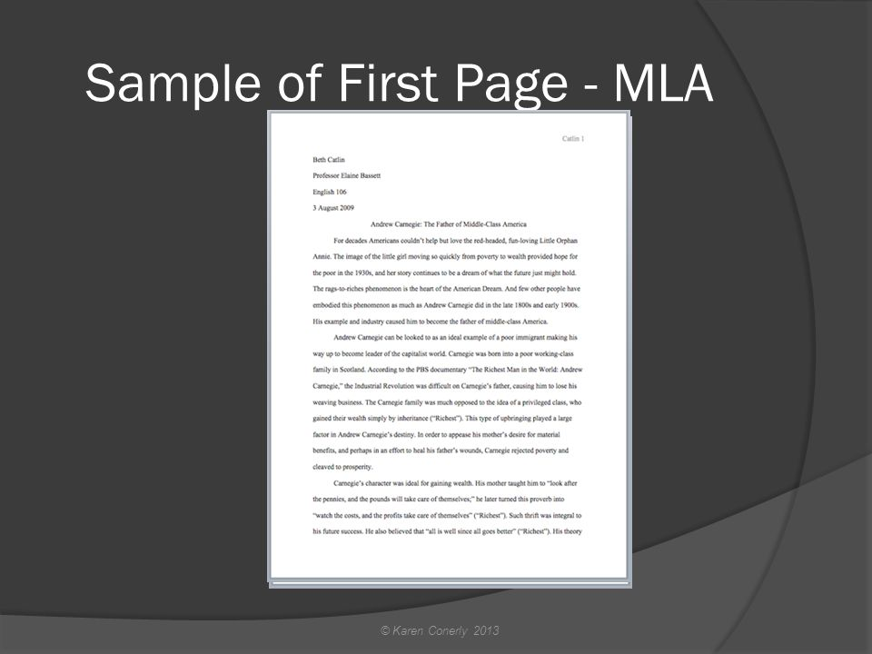 Sample of First Page - MLA © Karen Conerly 2013