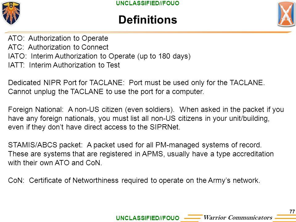 Unclassifiedfouo Warrior Communicators 1 Fort Hood Nec